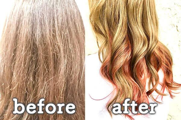 倉敷市の美容院(美容室) | イングスヘアー 毛髪強化ファイバープレックス ビフォー&アフター
