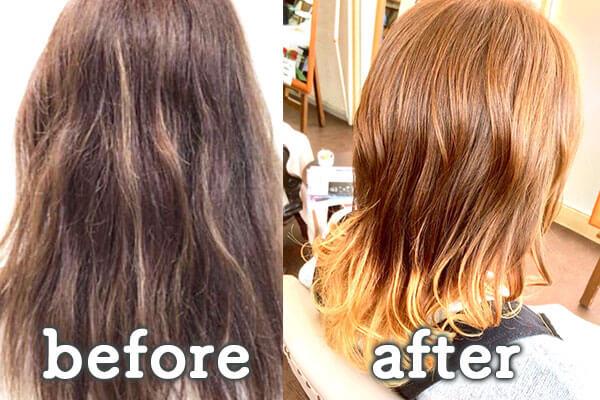 倉敷市の美容院(美容室) | イングスヘアー 毛髪強化ファイバープレックス ビフォー&アフター2