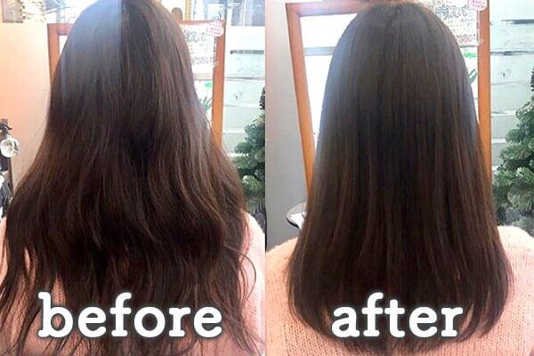 倉敷市の美容院(美容室) | イングスヘアー ツヤ髪ストレート+TOKIOトリートメント ビフォー&アフター