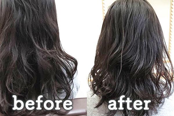 倉敷市の美容院(美容室) | イングスヘアー ツヤ髪コラーゲンデジP ビフォー&アフター