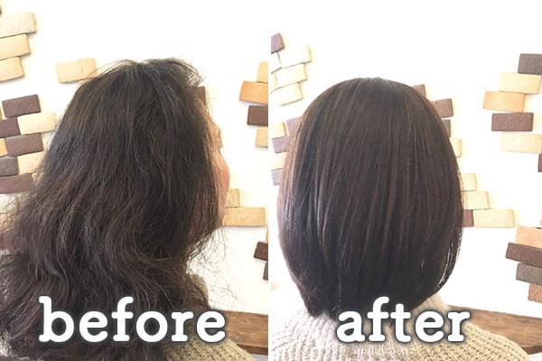 倉敷市の美容院(美容室) | イングスヘアー チューニングカット+ツヤ髪ストレート+TOKIOトリートメント ビフォー&アフター
